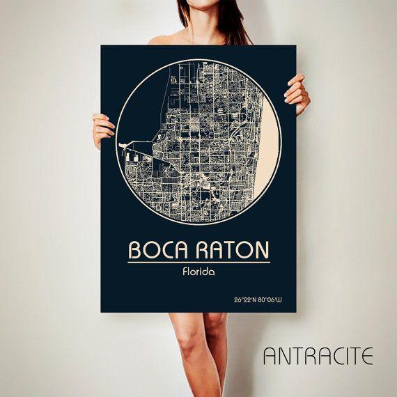 BOCA RATON Florida CANVAS Map Boca Raton Florida by ArchTravel