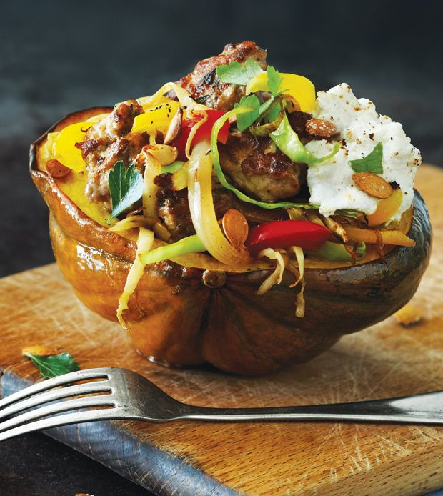 Stuffed Acorn Squash with Turkey Sausage - Clean Eating - Clean Eating