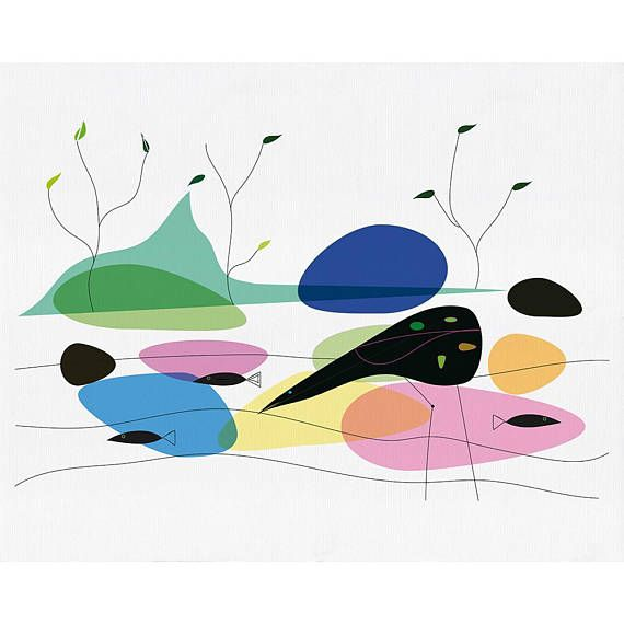 Bird On A Lake Mid-Century Modern Abstract Giclée Art