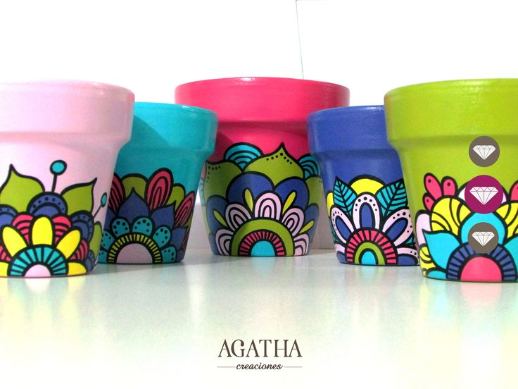 Flowerpots with mandalas