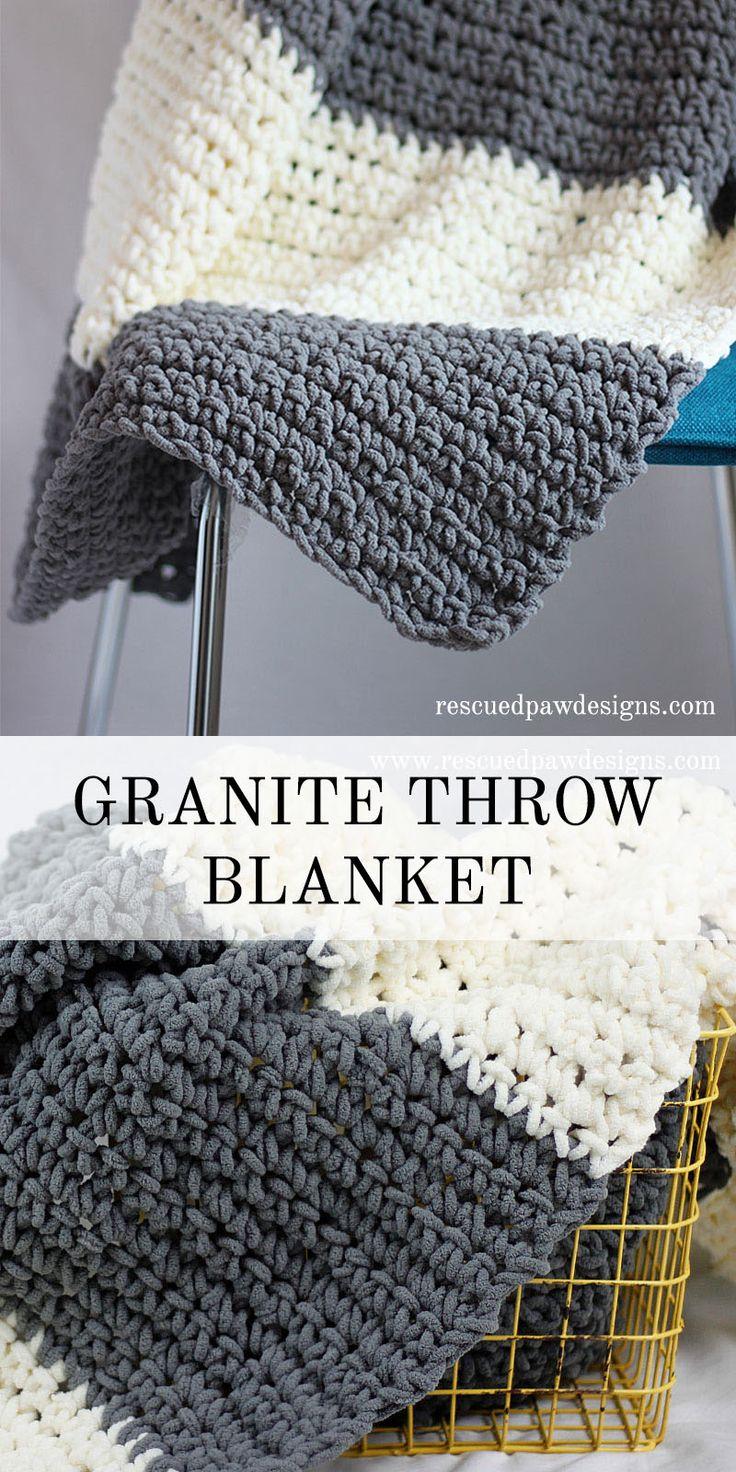 The Granite Crochet Throw Blanket - Free Crochet Blanket Pattern from Rescued Paw Designs www.rescuedpawdesigns.com via @rescuedpaw