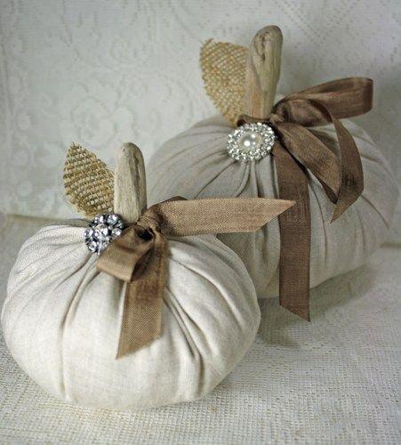 Fabric Pumpkins Vintage Linen Driftwood Stems