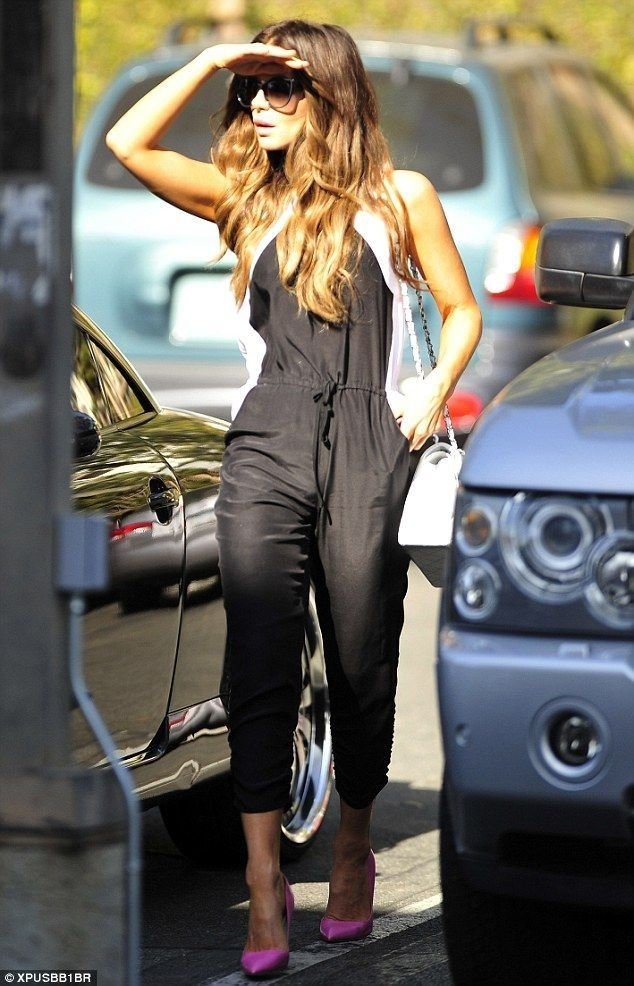 Kate Beckinsale.. Parker Women's Kaysha Combo Sleeveless Jumpsuit, Chanel Jumbo Flap Bag in White, and Stella McCartney sunglasses..... - Celebrity Fashion Trends