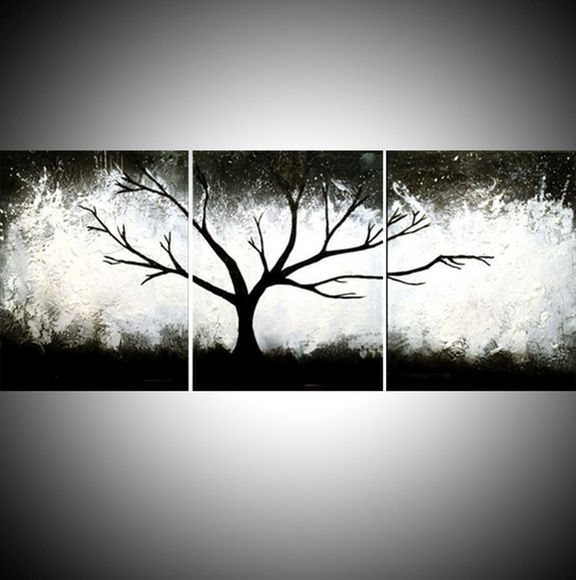 Triptych black and white impasto 3 panel wall art color black white tree in wood