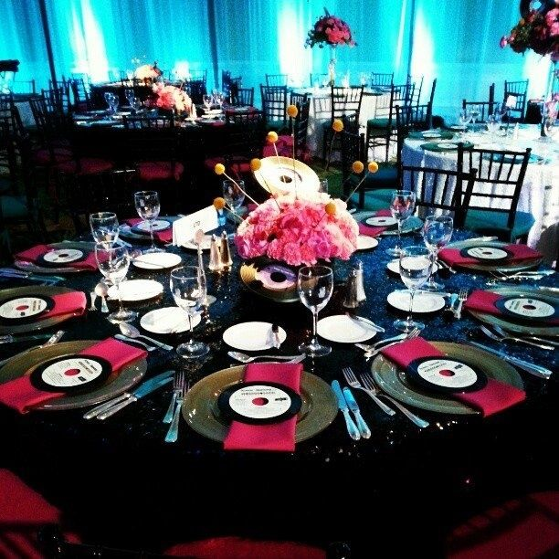 23 best images about 1950s birthdate decor on pinterest centerpieces beatles and charger - Rock n roll dekoration ...
