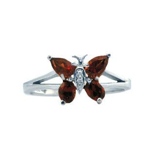 Diamond and White Gold Garnet Butterfly Ring Available Exclusively at Gemologica.com