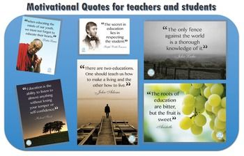 "14 Beautiful high resolution posters to inspire your students to learn.  They include a mix of stunning images and the following famous quotes about education that will both lift your spirits and make your classroom or staff room look incredible.Please view the preview files to see the posters and you can read all fo the quotes below.Dalai Lama""When educating the minds of our youth, we must not forget to educate their hearts.""Frank Lloyd Wright""You have to go wholeheartedly into anything in…"