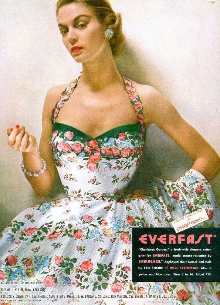 Jean Patchett, photo by Jerry Plucer, Vogue May 1952 early 50s sundress halter floral white pink roses Everfast