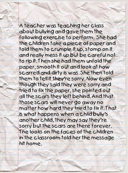 good lesson for all teachers to learn to share with their class.  kids should be safe in a classroom