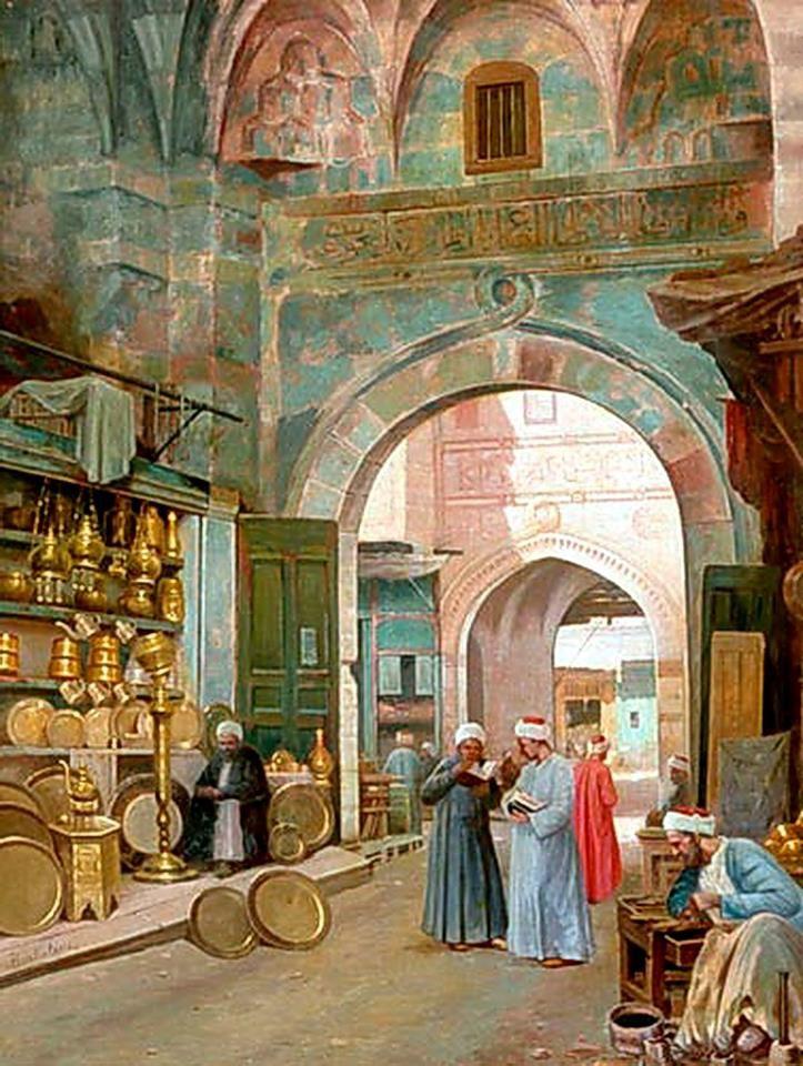 Oriental Bazaar Scene at Cairo- khan el khalili by Filippo Bartolini - Italian, 1861-1908 Oil painting , 50 x 66 cm