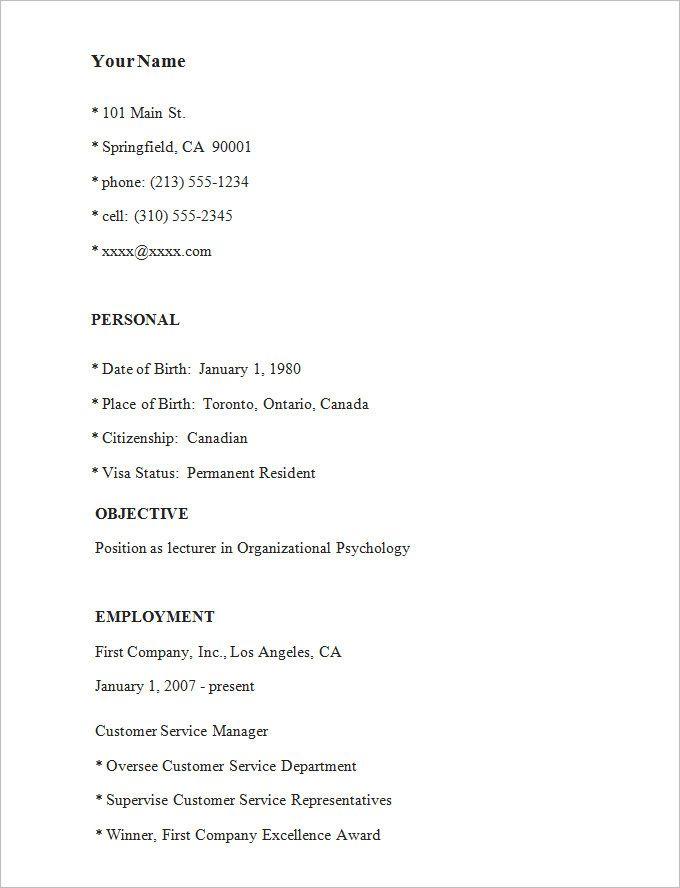Simple Simple Resume Sample Simple Resume Examples Simple Resume Format