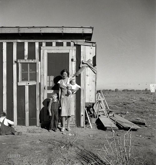 December 1935. Resettled at Bosque Farms project in New Mexico. Family of four from Taos Junction shows temporary dwelling.