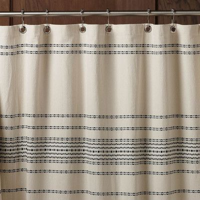 CoyuchiR Ivory Black Rippled Stripe Shower Curtain