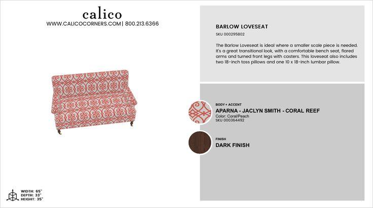 Barlow Loveseat in Aparna - Jaclyn Smith - Coral Reef with an accent of Aparna - Jaclyn Smith - Coral Reef in Dark Finish