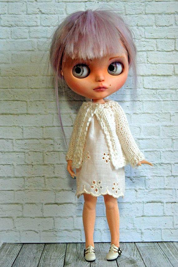 Blythe Doll Knitted Alpaca White Cardigan