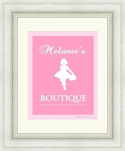 Valentines Day Gift. Boutique wall art. Personalized with name and colour. Playing dress up in style. Design by Gumball Prints. You print and frame.