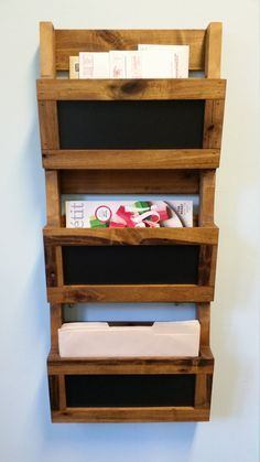 reclaimed pallet wood 3 pocket vertical wall organizer with chalkboard mail holder file holder