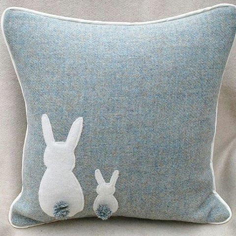 The cushion ban is still in place, but that doesn't stop me from looking This cute little bunny cushion is by Springside crafts. . . . #cushions #bunny #bunnies #duckeggblue #harristweed