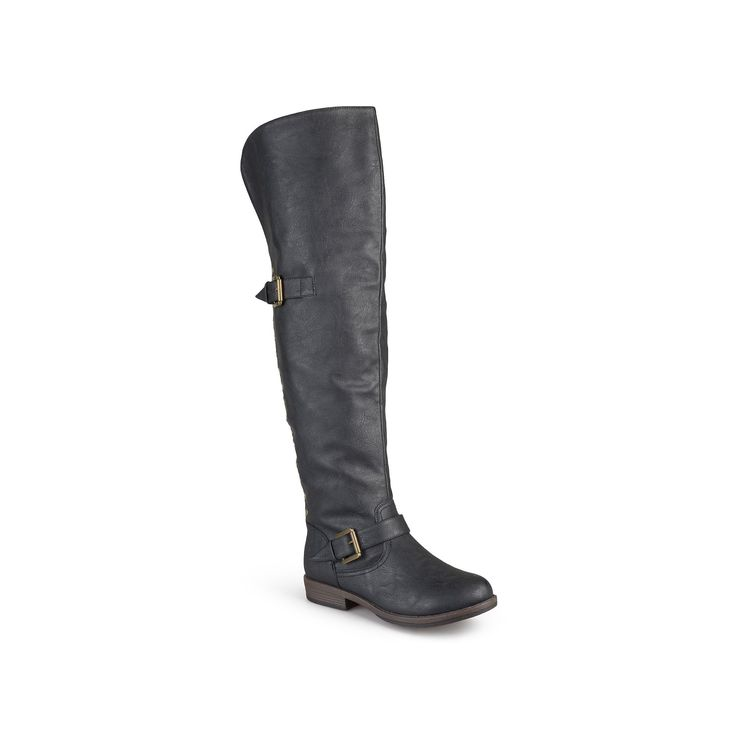 Journee Collection Kane Womens Studded Over-the-Knee Buckle Boots, Teens, Size: 7.5 Wc, Black