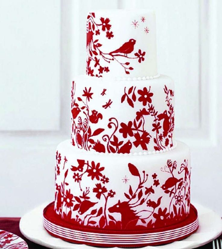 Torte natalizie in pasta di zucchero - Torta con decorazioni rosse