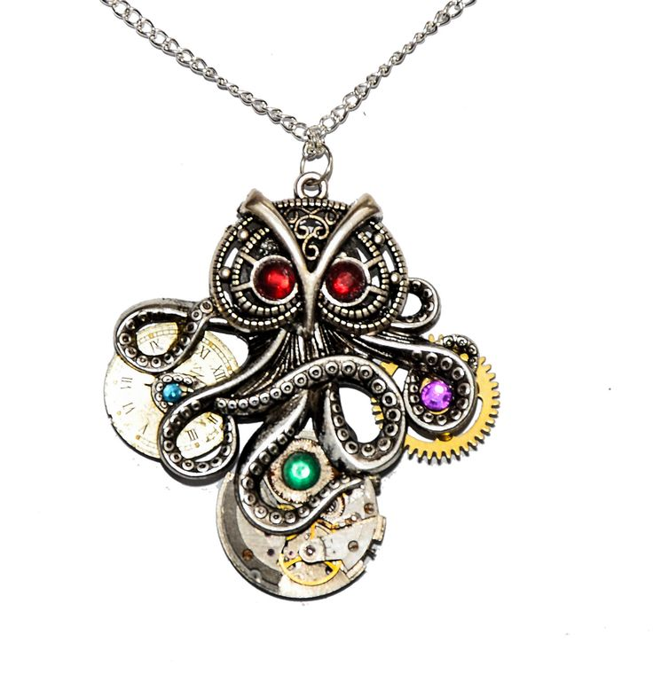 Steampunk Tibetan Silver 'Octopowl' - Octopus / Owl Hybrid - Pendant Necklace. Hand Made in Cornwall, UK by thelongwayround on Etsy