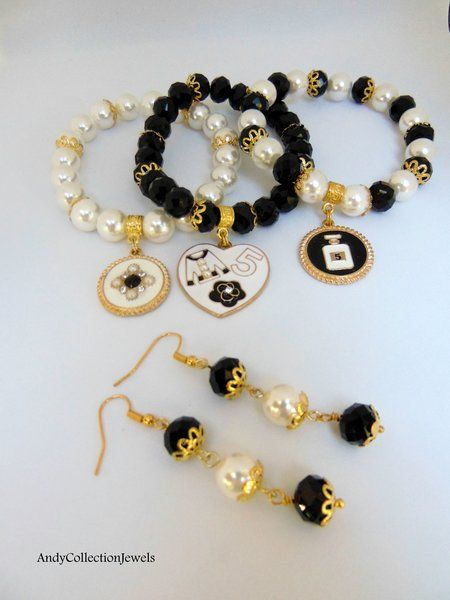 Charming Black and White Women's Set Wristbands and Dangling Earrings with Crystals, Mother of Pearls Stones and Designer Inspired CC Charms