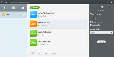 Desktop Compiler for Less, Sass, Compass and CoffeeScript - Koala