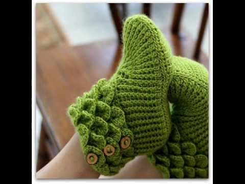 Babuchas para Adulto En Crochet - YouTube
