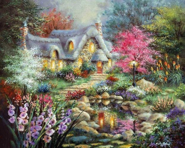 17 Best images about Paintings by {Nicky Boehme} on Pinterest   Christmas villages, Christmas ...
