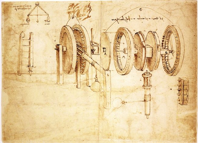 Estudios de ruedas dentadas (Reciprocating Motion Machine). Leonardo da Vinci, 1485