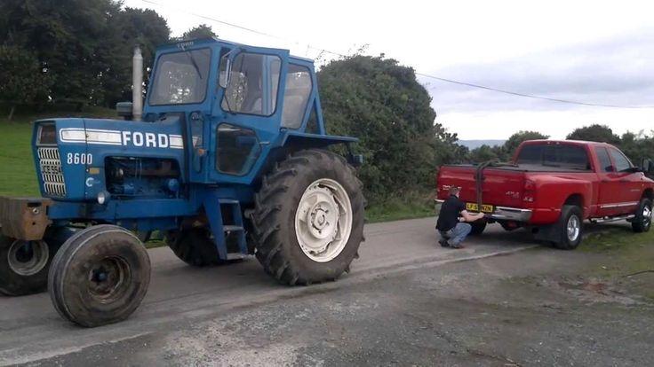dodge ram cummins vs ford 8600 tractor tug of war