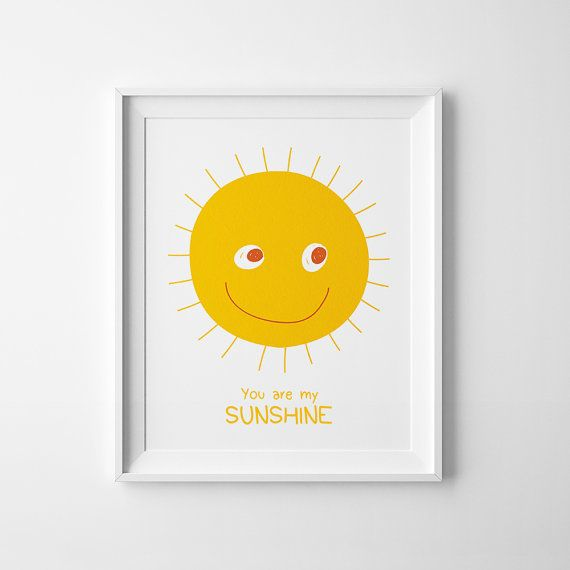 Yellow nursery print You Are My Sunshine by MiniLearners on Etsy, £2.99