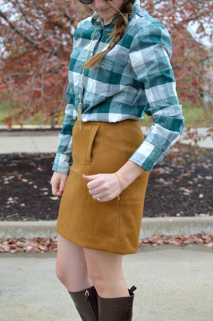 green plaid top with a wool skirt | wool skirt outfit ideas | what to wear with a wool skirt | what to wear with a tan skirt | suede skirt outfit ideas | a memory of us | how to wear skirts in the winter | skirts with riding boots | fall outfit ideas | plaid shirt outfit ideas | what to wear with a plaid top |