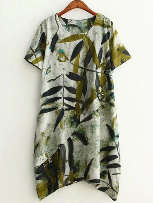 Plus Size Leaf painted Baggy Dress ==