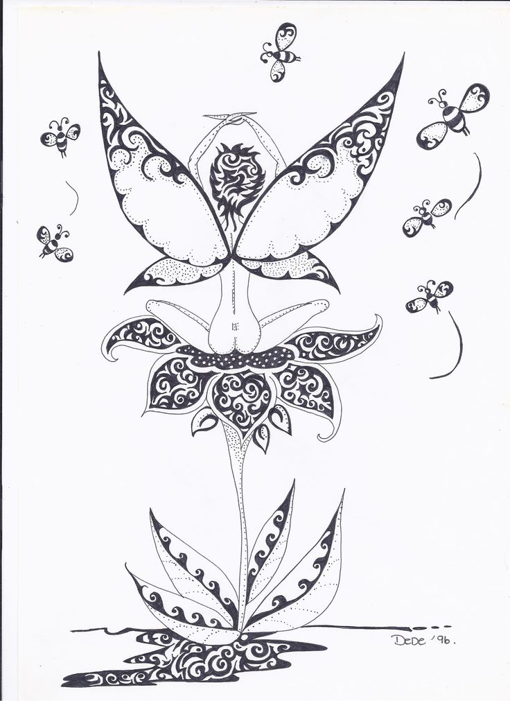 busy bee flower fairy in black ink