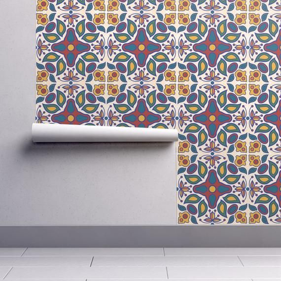 Mexican Tile Wallpaper Mayolica Tile By Wellfleetdesigns Etsy Peel And Stick Wallpaper Self Adhesive Wallpaper Spoonflower Wallpaper