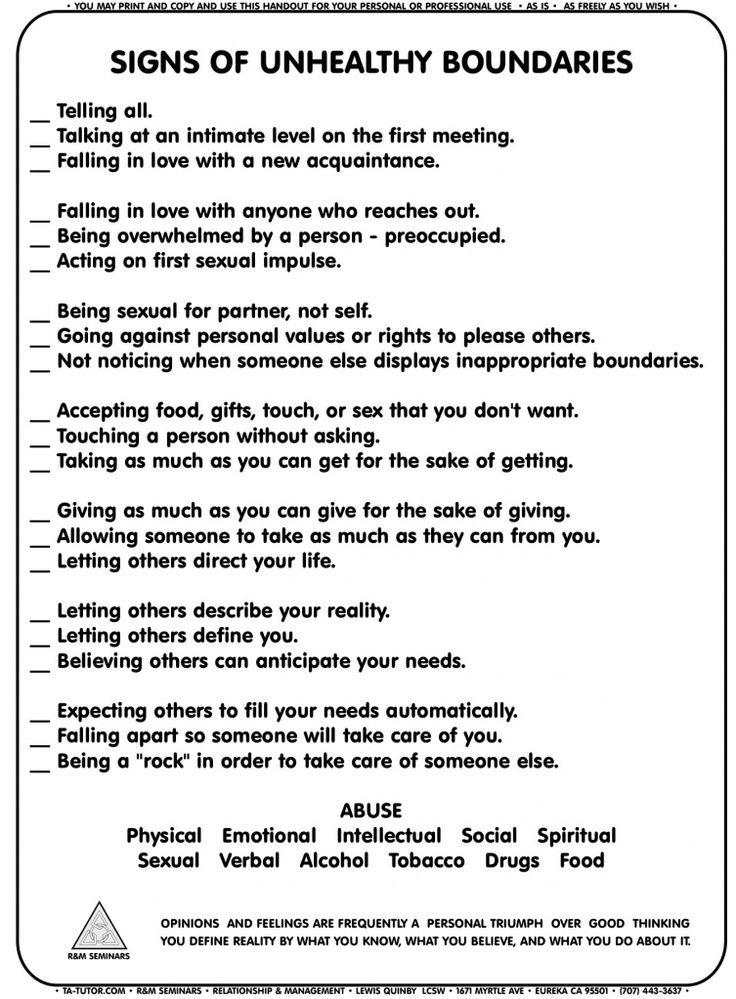 Signs of Unhealthy Boundaries worksheet | Mental Health | Pinterest ...
