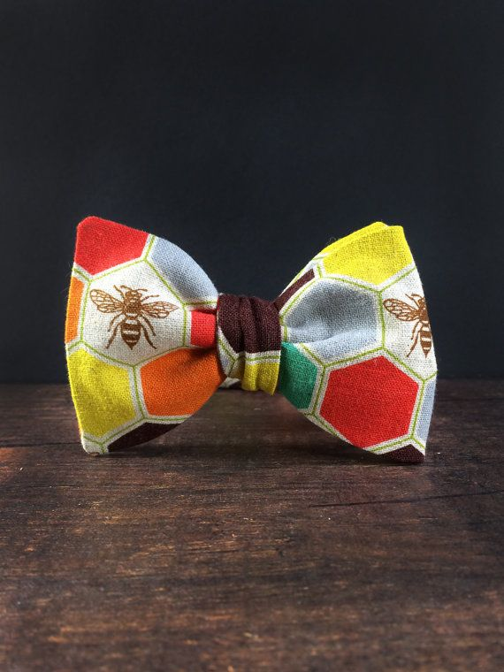 Bow Tie for Men by BartekDesign: self tie bee honey multicolor