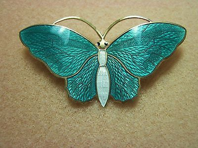 Large Vintage Turquoise Aqua Norway Aksel Holmsen Sterling Butterfly Pin
