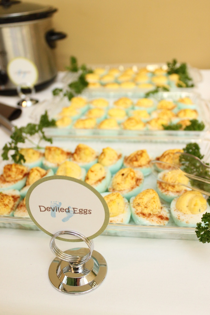 Baby shower food - Baby blue deviled eggs. Can also do pink for baby girl shower or more colors for Easter.