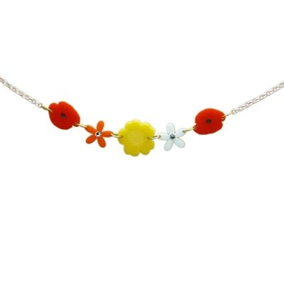 Wild Flower Meadow Charm Necklace Go wild with this wild flower meadow of poppies daisies & buttercup necklace
