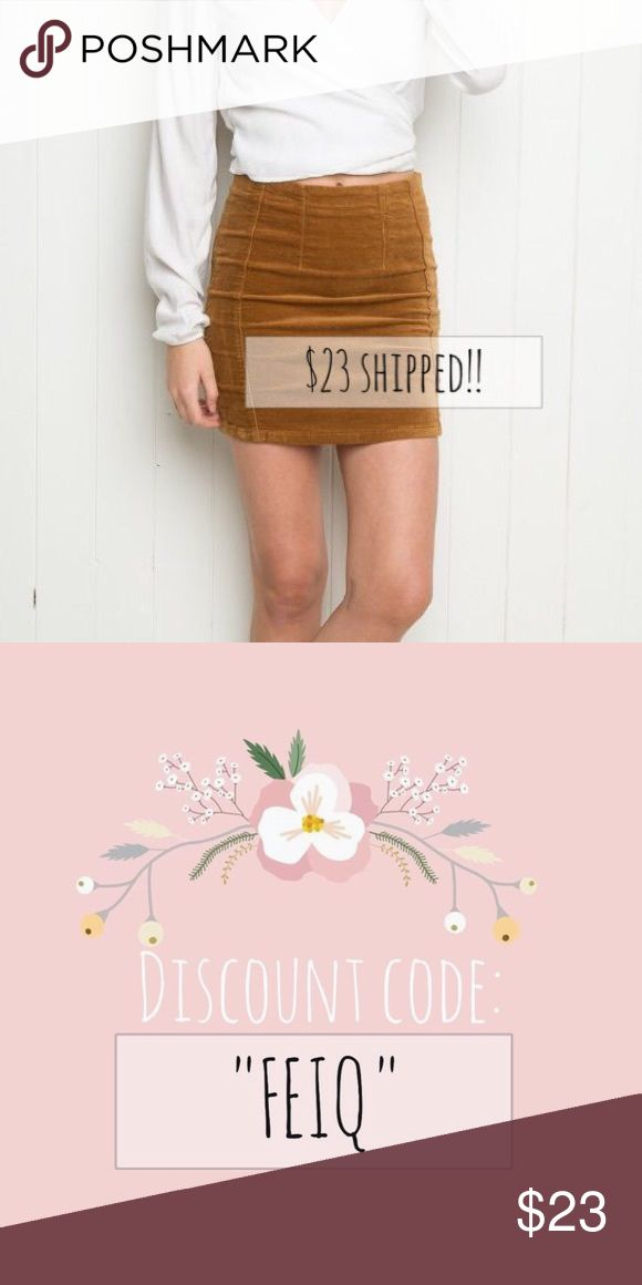 """Brandy Melville Justina corduroy skirt 💗 Purchase this skirt for $23 shipped on the app """"Dote Shopping"""" using the discount code: """" FEIQ """"!! 💗 everything is guaranteed safe and secure on that app! Directly shipped from official Brandy Melville website. So don't worry :) I've made several purchases from there too Brandy Melville Skirts Mini"""