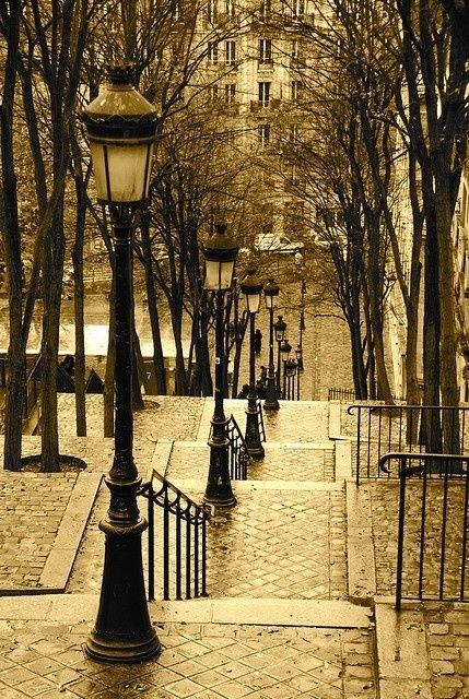 Lantern Stairs, Montmartre, Paris, France <3 Sometimes I wonder if my past life had been one in which I traveled through Europe for whatever reason... I see these pictures and occasionally it feels like it should be a memory ... maybe that's wishful thinking ;-P <3