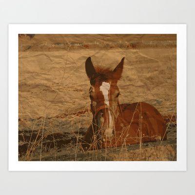 Horse at sunset Art Print by Sonia Marazia - $15.60