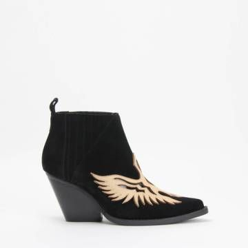 Jeffrey Campbell FAWKES Ankle Western Bootie Black Suede Nude Leather