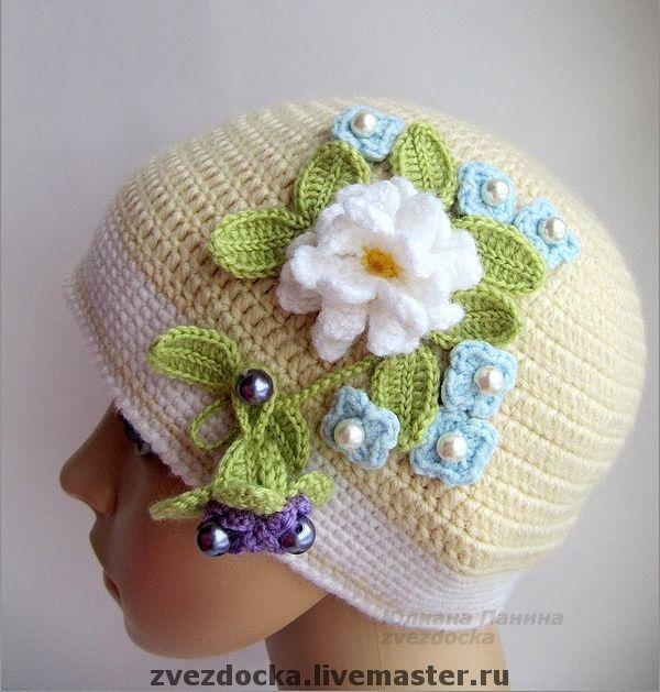"""Купить шапка """"Нежные краски первоцветов"""" - шапка для девочки, шапка детская, шапка вязаная"""