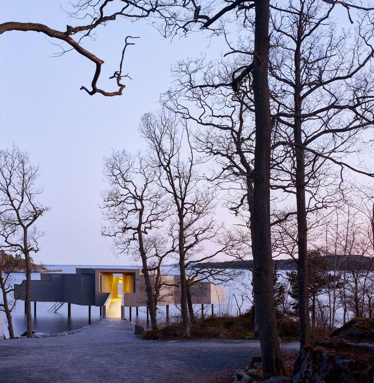"White Arkitekter's pared-back bathhouse reinterprets Sweden's traditional ""gingerbread"" architecture"