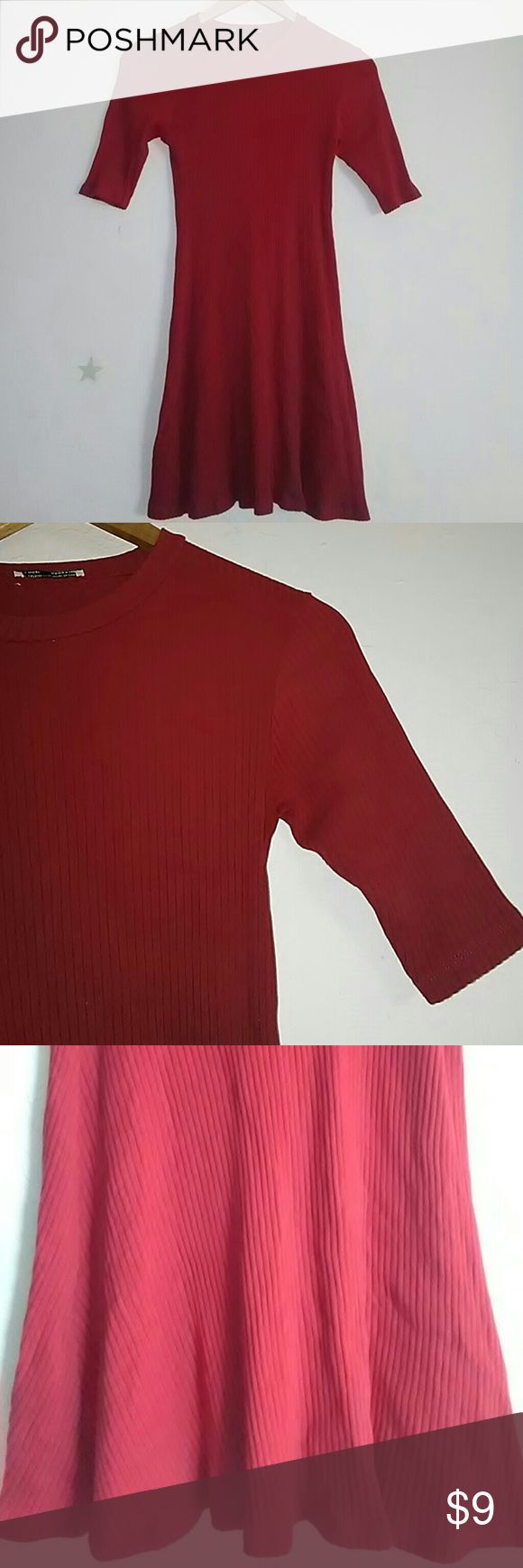 """Zara red tunic dress Excellent condition Size M (run small) Length from top to hem 31"""" Burst approximate 27"""" Lots of stretchy Zara Tops"""