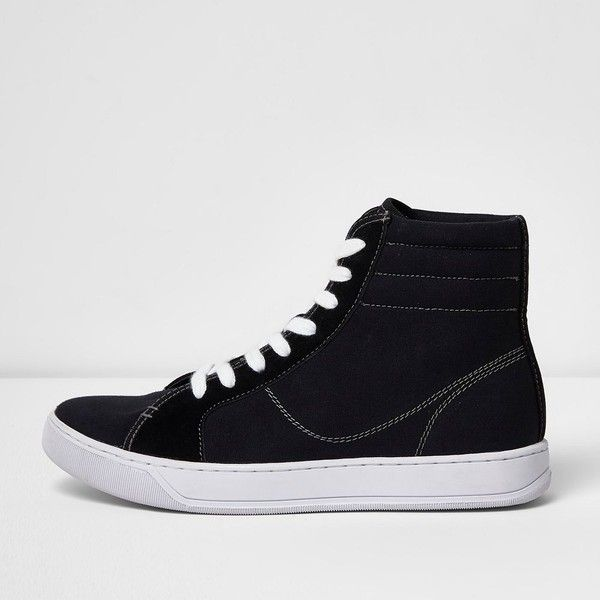 River Island Black canvas hi top trainers ($37) ❤ liked on Polyvore featuring men's fashion, men's shoes, men's sneakers, shoes, mens black shoes, mens high top shoes, mens black high top sneakers, mens black hi top sneakers and mens canvas shoes