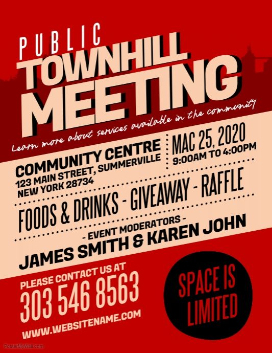 townhall meeting flyer postermywall poster flyer design